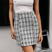 Double-Breasted tweed plaid Straight elegant mini skirt