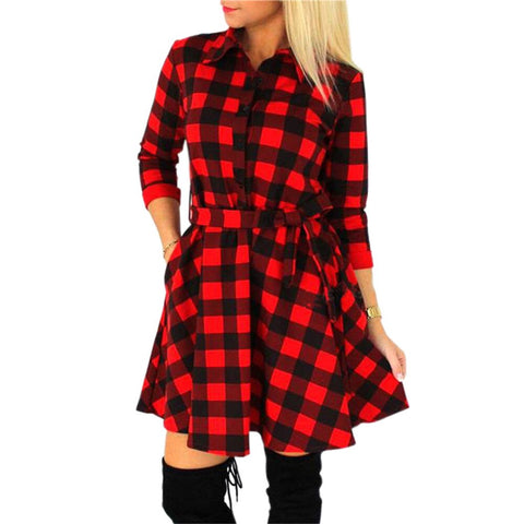 Plaid Black White Red Vintage Party Bandage Casual Shirt Dresses