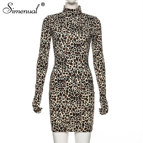 Leopard Sexy With Gloves Long Sleeve Dresses