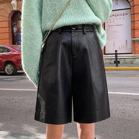 PU Leather Elastic Waist Loose Five Points Leather Shorts