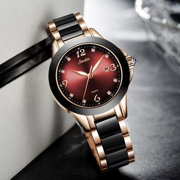 Luxury Ceramic And Steel Bracelet Analog Wrist watch