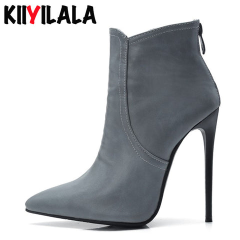 Zipper Thin Heel Ankle Boots