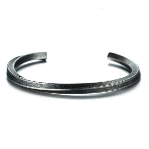 Vintage Stainless Steel Bangle Twisted Cuff Bracelet