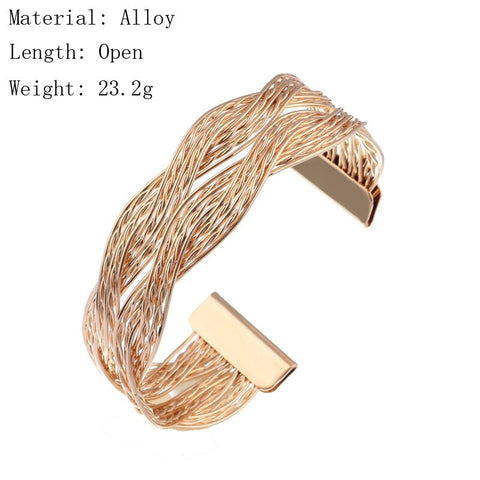 Punk Gold Color Big Multi Layer Twisted Geometric Patterns Open Bracelets Bangles