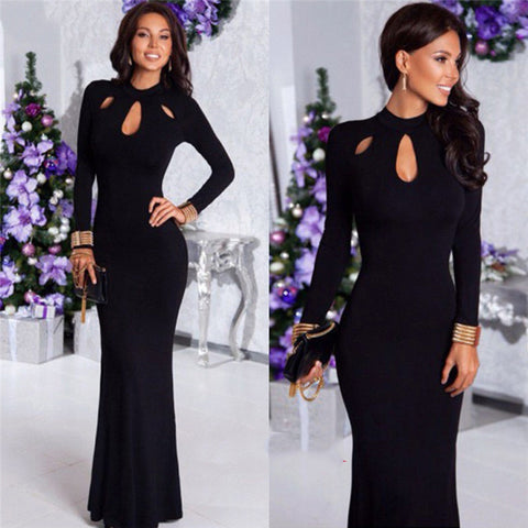 Vintage O collar long Elegant solid color Full sleeve Casual Long Maxi dress