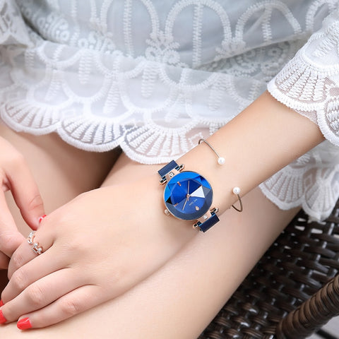Luxury Blue Stainless Steel Mesh Band Elegant Watch