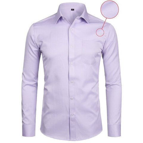 White Business Slim Fit Long Sleeve Solid Casual Dress Shirt