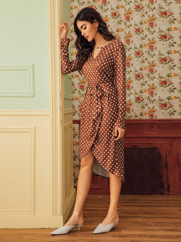 Casual Long Sleeve V Neck Polka Dot Wrap Dresses
