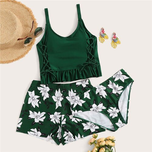 Lace Up Frill Hem Top With Floral Bikini