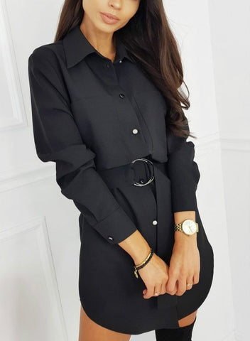Casual Casual Solid Color Long Sleeve Button Shirt Dress