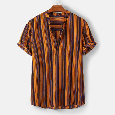 Striped Stand Collar casual Multicolor Hawaiian Short Sleeve Shirts