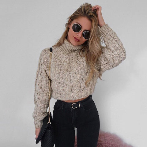 High Collar Sexy Umbilical Twist Casual Knitted Sweater