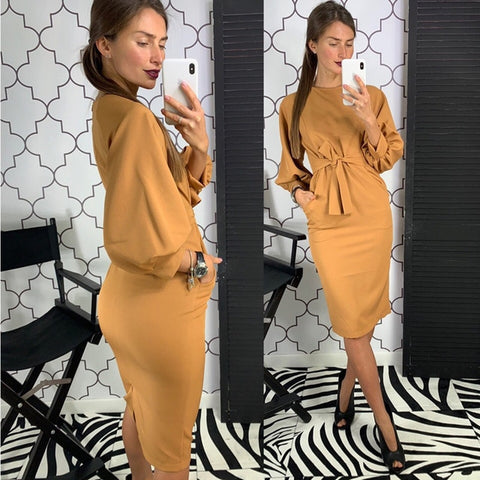 Vintage Lantern Sleeve Sashes Long Sleeve O neck Solid Sheath Elegant Casual Party Dresses