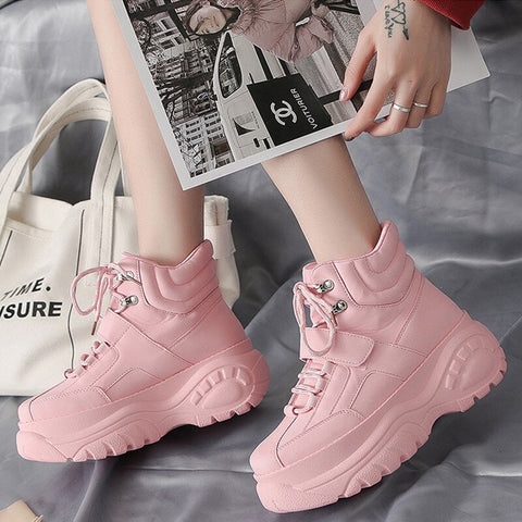 Platform Pink Chunky Heel Wedges Dad Shoes