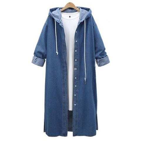Long Sleeve Casual Hooded Denim Maxi Coat