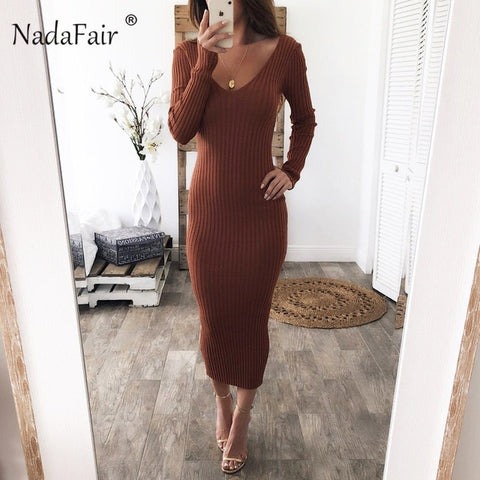 Knitted Stretchy Long Sleeve Midi Black White Red Bodycon Knit Long Sweater Dress