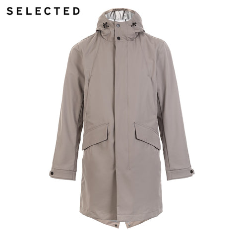 hooded raglan light and long windbreaker coat