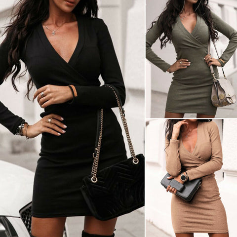 Deep V Neck Sexy Night Club Wear Black Blue Long Sleeve Dresses