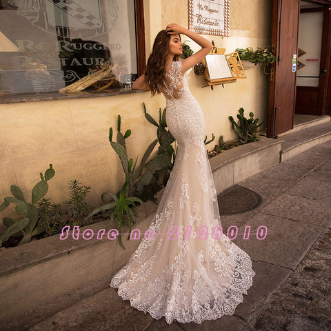 Appliques Lace Mermaid With Beading Crystal Removable Train Wedding Dresses