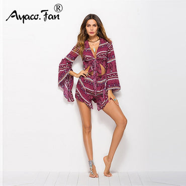 Sexy Flare Sleeve Print Loose Bow Chest Wrapped Boho Bohemian Rompers
