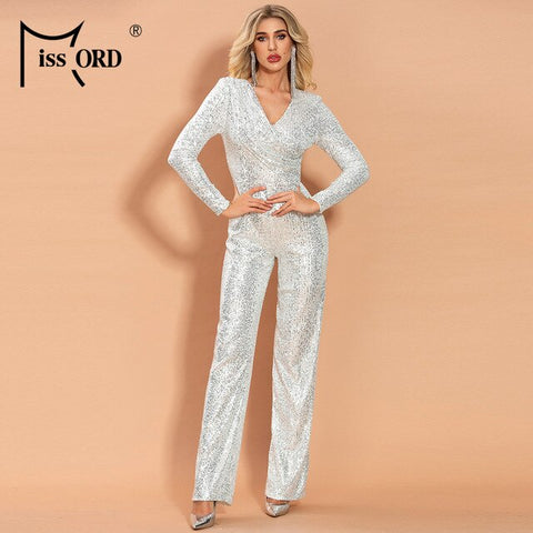 Sexy V Neck Long Sleeve Sequin Jumpsuit