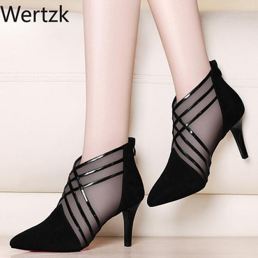 Mesh Lace Crossed Stripe Casual High Stilettos Heels Boots