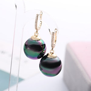 Gold Silver Color Big Ball with Pearl Drop Earrings