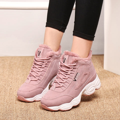 Ankle Vulcanized Thick Plush Suede Female PU Leather Outdoor Sneakers
