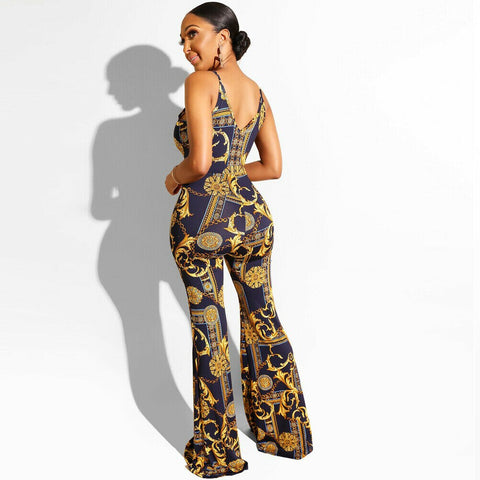 Sexy Printed V Neck Long Jumpsuit