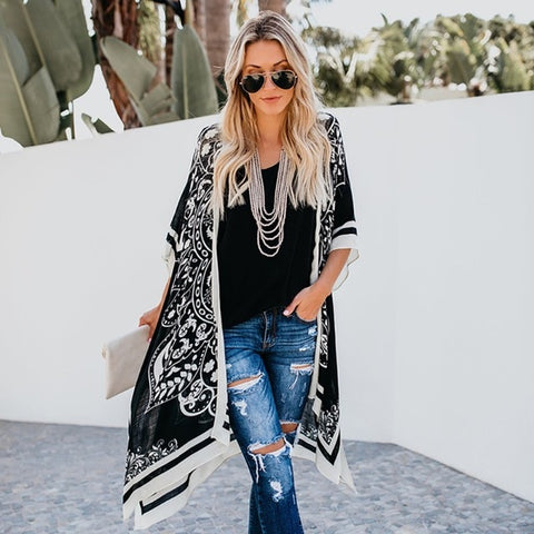 Digital Print Long Style Shirt Lace loose Cardigan Kimono