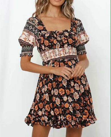Vintage chic half sleeve backless floral print Bohemian mini dress