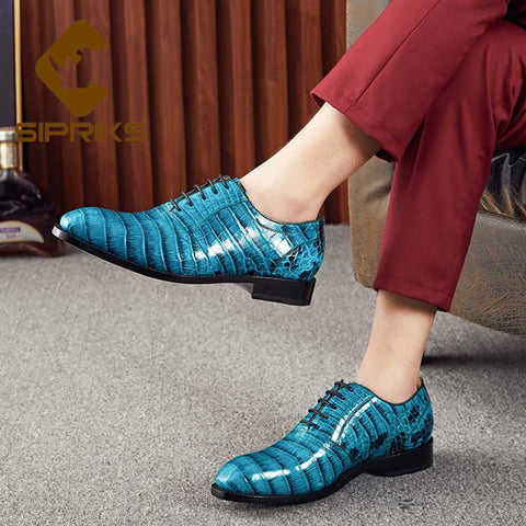 Imported Crocodile Belly Skin Dress Oxford Shoes