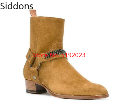 British Style Round Toe Chain Chelsea Boots