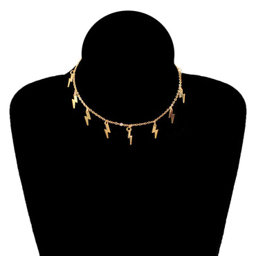 Lightning Shape Gold Necklace