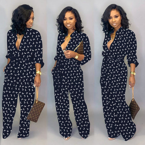 Dot Black White Rompers Button Up Self Belted Pockets Jumpsuit