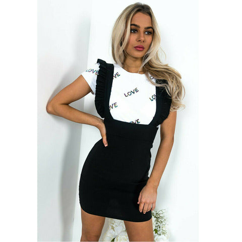 Check Dog Tooth Frill Ruffle Pinafore High Waist Casual Dresses