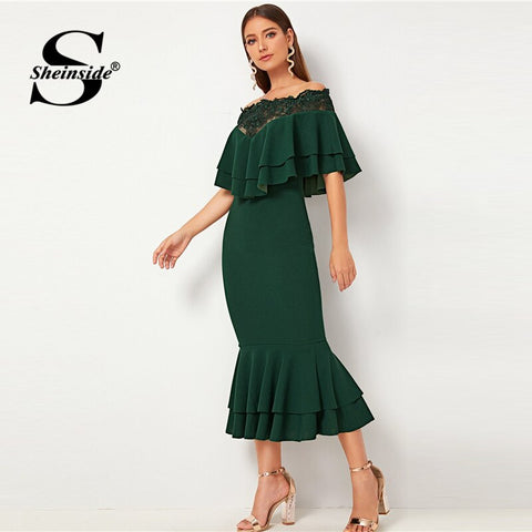 Contrast Lace Trim Fishtail Off the Shoulder Layered Ruffle Party Dresses