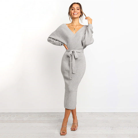 Semi Formal Cable Knit Bodycon Maxi Dress