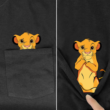 pocket Lion king Cartoon print t-shirt