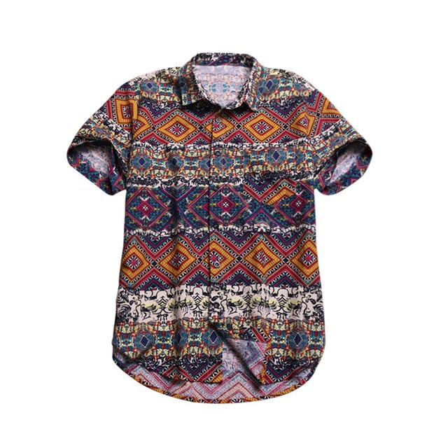 Printed Pocket Colorful Casual Blouse Hawaiian Short Sleeve Shirts