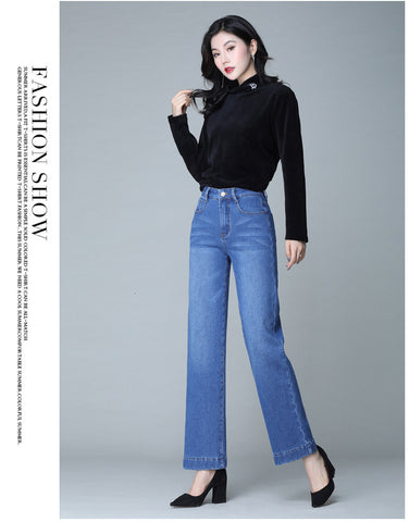 Casual Wide Leg Blue High Waist Jeans