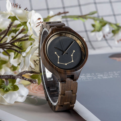 Constellation Pattern Engraved Wood Watches
