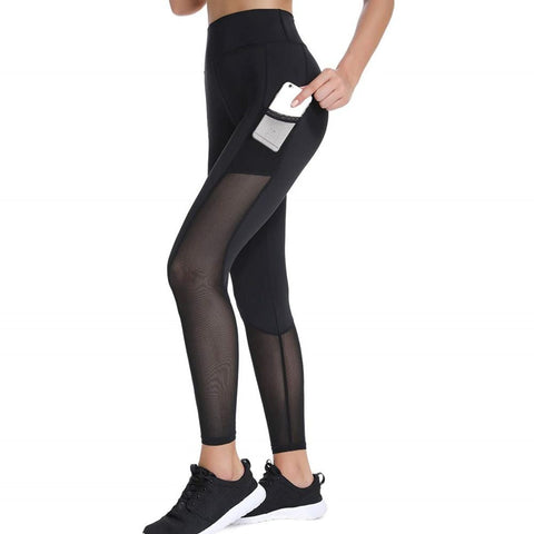 High Waist Workout Mesh Fitness with Pockets Body Ankle Length Leggings