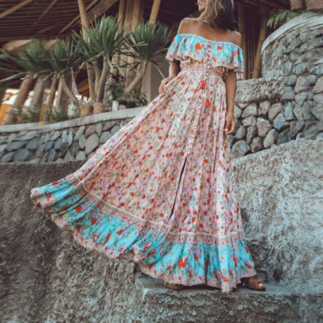 Off The Shoulder Long Dresses Ruffle Vintage Tied High Waist Bohemian Dress