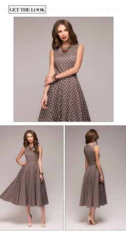 sleeveless O neck elegant thin dot printing Mid Calf casual Vintage Dresses