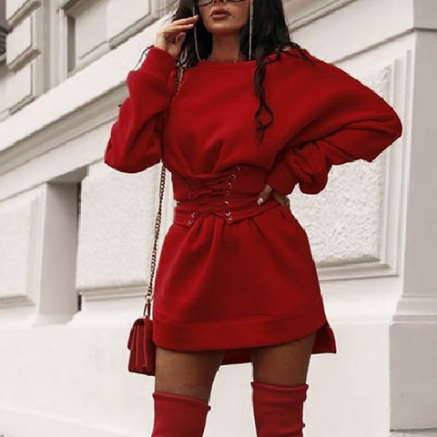 Solid O neck Long Sleeve Thick With Waistband Belt Sweatshirt Mini Dress