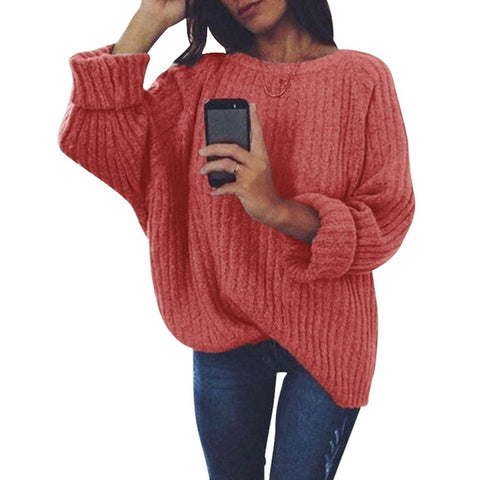 Solid O Neck Knitted Sweater