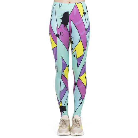 High Elasticity Workout Jogging Fluorescent Neo Jazz Printing leggings