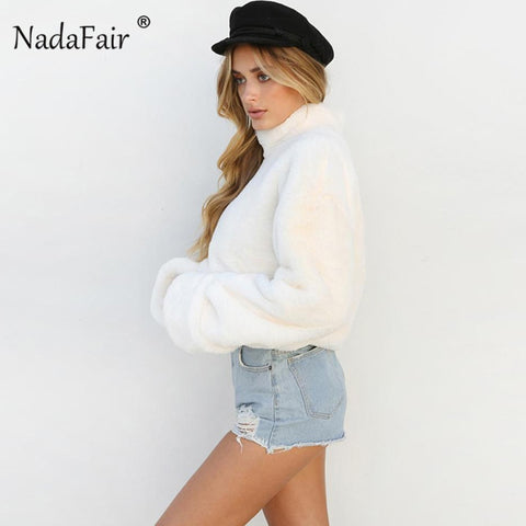 White Plush Turtleneck Faux Fur Loose Casual Sweater