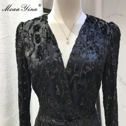 V neck Long sleeve Metallic Black Leopard Dresses